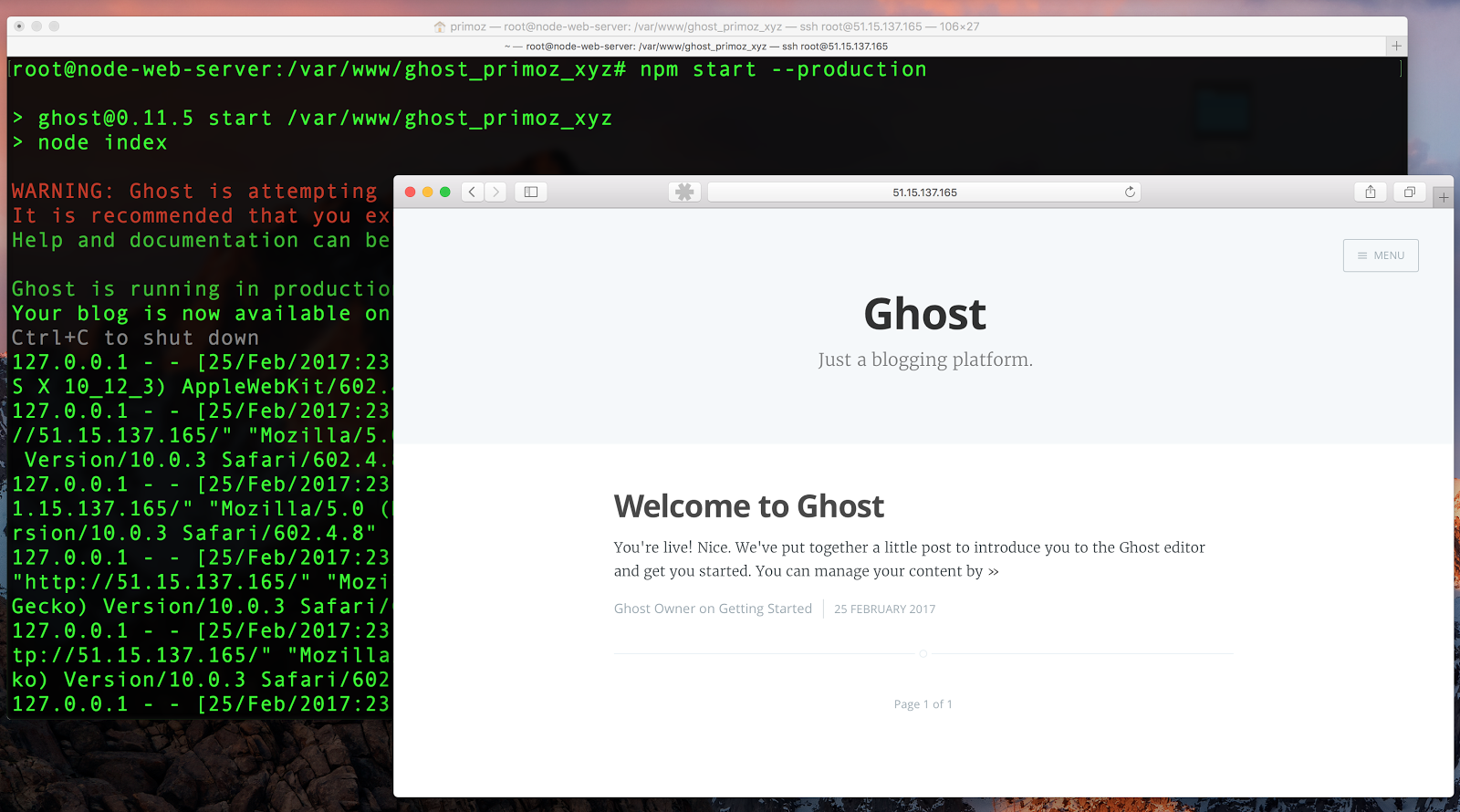 Running Ghost on Scaleway node js instance with HTTPS